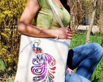 Beautiful tote bag -  Peacock shoulder bag - Fashion canvas bag - Colorful printed market bag - Gift Idea