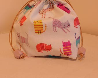 Kitty kat drawstring project bag