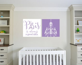 Paris Print - Eiffel Tower- Baby Girl Nursery Art - Nursery Decor - Lavendar -Girls Room - Dorm Room