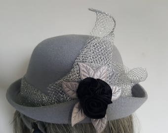 Grey Cloche Hat with Silver Lame and Black Satin Flower trim