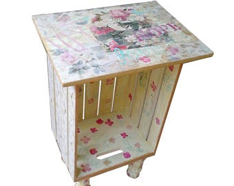 Bohemian furniture, wooden crate end table with mixed media art, shabby chic furniture, boho chic, bohemian style, Shabby Chic Decor