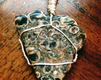 Handmade Silver Wire Wrapped Stone Pendant