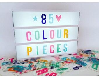 85 Piece PASTEL colour number, letters & symbol lightbox set