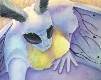 Other Moth Folk - Orignal Watercolor Painting By  Marialynda Valdez on 300lbs hot press watercolor paper.