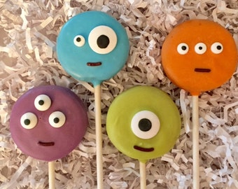 Monster Oreo cookie pops / birthday party favor / kids birthday / one dozen (12)