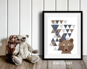 Bear Print, 11x14 Digital Download Prints, Wall Art, Boy Nursery, Bear Nursery, Playroom, Arbor Grace Collections