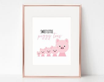 Sweet Little Piggy Toes, 11x14 Digital Download Prints, Wall Art, Girl Nursery, Pig Nursery, Playroom, Arbor Grace Collections