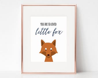 You Are So Loved Little Fox, 11x14 Digital Download Prints, Wall Art, Boy Nursery, Fox Nursery, Playroom, Arbor Grace Collections