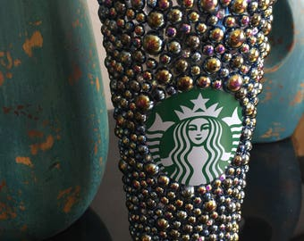 Black Pearl and Bling Starbucks Venti 24 oz Cold Cup Tumbler. Ready to Ship!