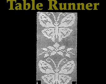 Butterfly Lace Table Runner Filet Crochet Pattern