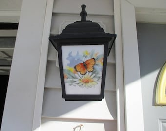 Butterfly, porch light, outdoor lighting, outdoor light fixture, butterfly, lamp post, stained glass, fused glass, melted glass, lighting