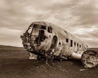 Iceland Plane Wreck (Sepia)