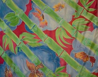 "Silk painting. Unique. Kimonomania. ""Bamboo"". Crêpe de chine 90 x 90 cm"