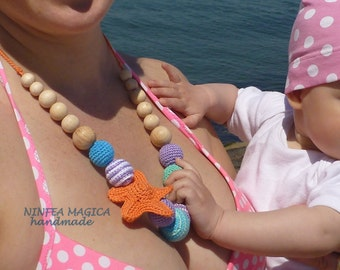 Necklace from breast feeding, teething and babywearing with star, Nursing necklace, Breastfeeding Babywearing necklace