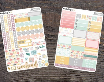 Rainy Days Weekly Planner Stickers Mini Kit for Vertical Erin Condren Life Planner