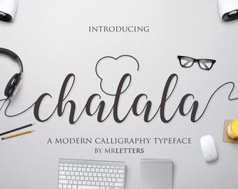 New Font, Chalala Script, Modern Calligraphy, Hand Lettering, TypeFace