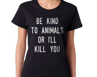 Women's 'Be Kind To Animals' T-Shirt In Black