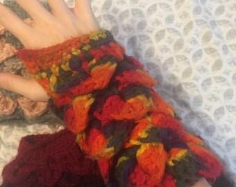 Dragon Scale Crochet Fingerless Gloves/Wristlets/ArmWarmers