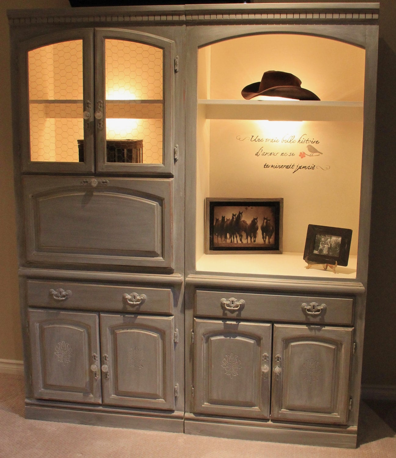 Chalk Painted Cabinets In Annie Sloan French Linen And Old