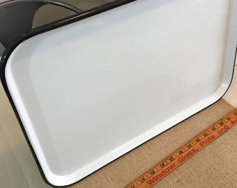 Vintage Enameled Tray White with Blue Trim