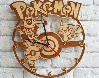 Pokeball wood wall Clock