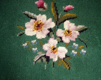 Vintage piece of Needlepoint Cushion or Chair Cover, Green with White Flowers