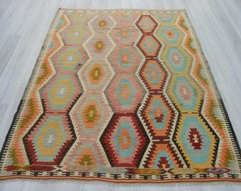 5' 9'' x7' 4''Handwoven vintage decorative colourful Turkish kilim rug