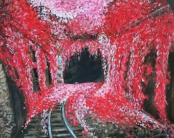 Desires tunnel 50x70 cm Original acrylic paintings Shades of red Blossom flowers Wall Art Decor Unique gift painting Bright colors Art