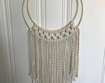 Macrame Wall Hanging on a Double Brass Ring