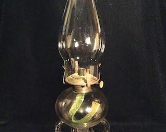 1800's Antique double-finger glass kerosene oil lamp.