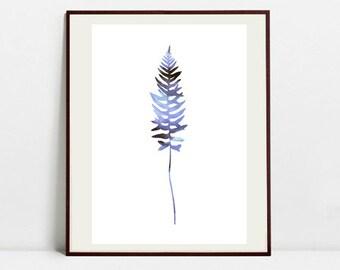 Fern Art Botanical Print , Leaf Watercolor Painting, Fern Violet Illustration, Digital Download Art Print