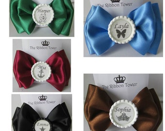 Personalised character girls school bobbles bows clip headband satin ribbon accessories hand made