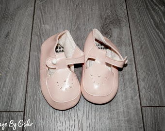 Vintage A pair of Pink Baby shoes says size 3 , White button  fastening  Made in England,60s-70s,PU Leather,Peach colour