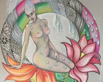 """Limited print of original drawing, """"Aquarius"""""""