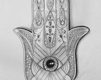 "Limited print of original drawing, ""Protective Hand, Hamsa"""