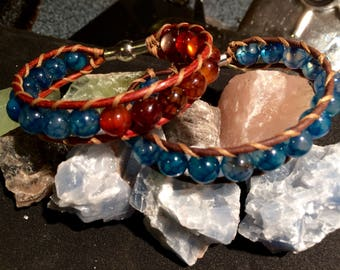 Stone and Leather Bracelet