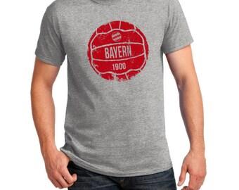 Bayern Munich Inspired Retro Ball Soccer Tee (Grey/Red)