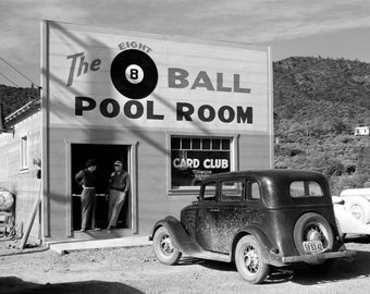 "1940 Shasta County, California Pool Hall Vintage Photograph 8.5"" x 11"" Billiards"