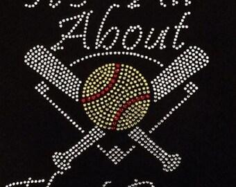 Rhinestone All About That Base Softball Ladies Lightweight T-Shirt                                    6JKI