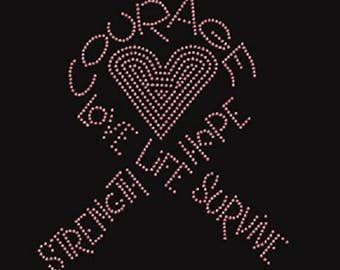 Rhinestone Breast Cancer Butterfly  Ladies T Shirt or DIY Iron On Transfer              6VSE/QBS5