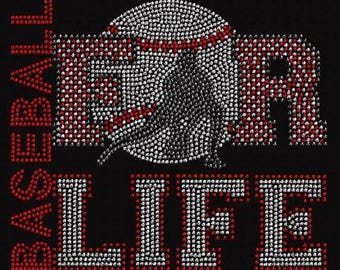 Baseball For Life Rhinestone Iron on Transfer                     18Q2