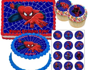 Spiderman edible cake topper or cupcake toppers, Cake topper personalized, Spiderman Cake Topper, spiderman cupcake toppers, superhero party