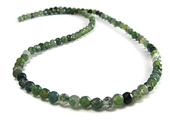 "Moss Agate Faceted 4mm Beads, 16"" Strand"