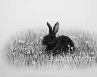 Black and White Rabbit Illustration Giclée Print
