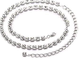 Diamante silver chain belt