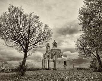 Photography black & white - Chapel of Mt. Brouilly, Beaujolais - France / Black and White Photography Fine Art Lansdcapes of France