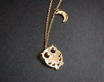 Gold tone owl moon necklace