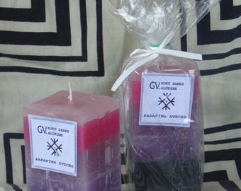 Candle purple-violet-dark as a gift, homemade