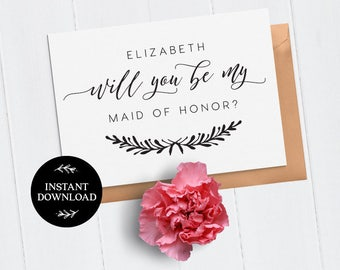 Will You Be My Bridesmaid Printable Card, INSTANT DOWNLOAD DIY Ask to be Bridesmaid, Maid of Honor, Flower Girl, pdf editable Mira