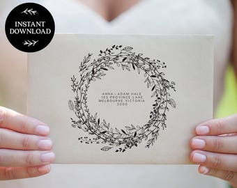 Wedding Calligraphy Address Template, A7 & A1 Size,  INSTANT DOWNLOAD Envelope Template, Editable Text, Printable Wedding invite - Audrey
